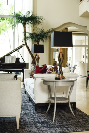 predominantly white contemporary eclectic living room