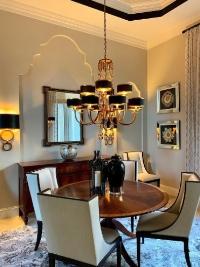 modern dining room chandelier with wing chairs