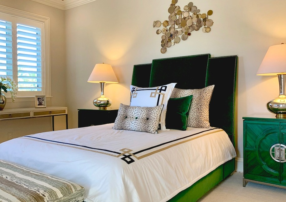 emerald green upholstered bed and headboard